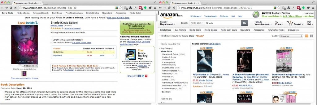 Screenshots of Marilyn Peake's Shade on Amazon.com, and the results page of trying to buy the book by clicking on the search link Amazon provide.